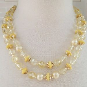 Vintage 1960's Signed Yellow Pearl Necklace